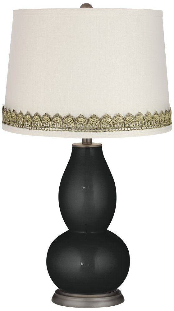 Caviar Metallic Double Gourd Table Lamp with Scallop Lace Trim