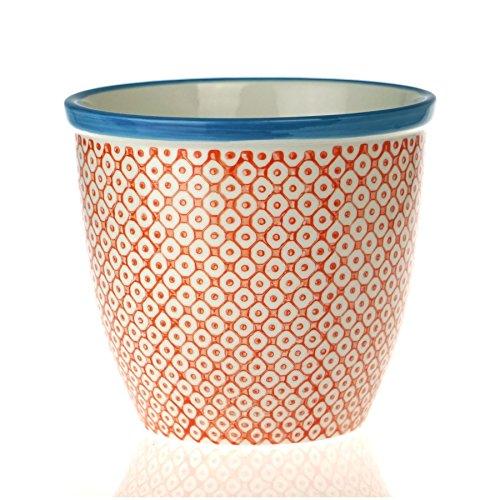 Nicola Spring Patterned Plant Pot Porcelain Indoor/Outdoor Flower Pot - Orange/Blue Print Design