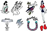 Deluxe Amy Winehouse Fancy Dress Tattoos Set of 9 Temporary Goth