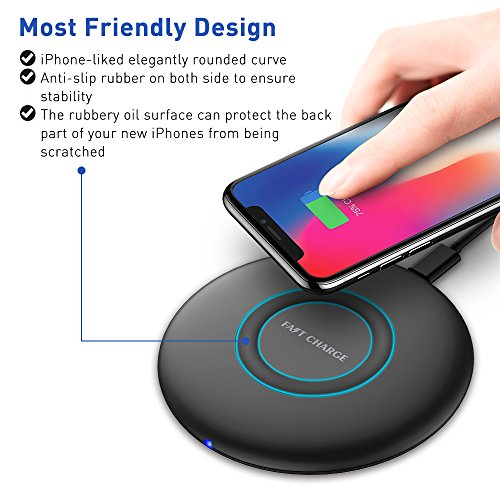 HiGoing iPhone 8/8 Plus/ iPhone X Wireless Charger Pad, Fast Charging Accessories for Samsung Galaxy S8/S8 Plus S7/S7 Edge/ Note 8 /5 ,Black