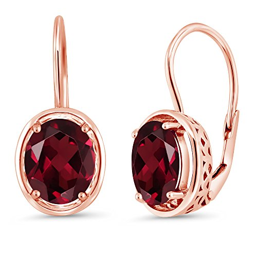 Gem Stone King 4.00 Ct Oval Red Rhodolite Garnet 18K Rose Gold Plated Silver Dangle Earrings