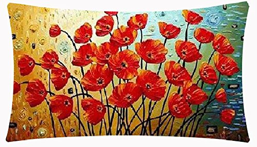 (Enchanting Beautiful Oil Painting Red Poppy Flowers Anniversary Day Present Cotton Linen Home Office Decorative Throw Waist Lumbar Pillow Case Cushion Cover Rectangle 12 X 20 Inches)