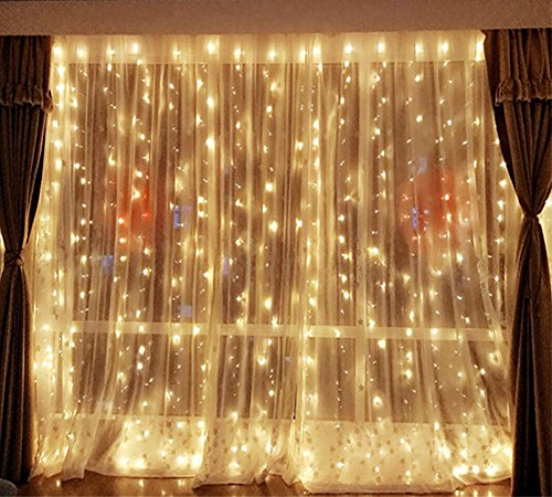 DLPIN 304 LED Christmas Lights Linkable Window Curtain String Lights UL Safe Fuse Saving Settings for Wedding Home Party Decorations - 9.8FT Warm White (Fuse Christmas Bulb For Lights)