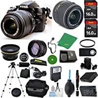 Nikon D3200 DSLR - International Version (No Warranty), 18-55mm f/3.5-5.6 DX VR, 2pcs 16GB Memory, Camera Case, Wide Angle, Telephoto, Flash, Battery, Charger