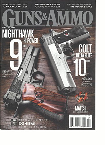GUNS & AMMO MAGAZINE JULY, 2016 FIRST LOOK NIGHTHAWK HI POWER 9 mm