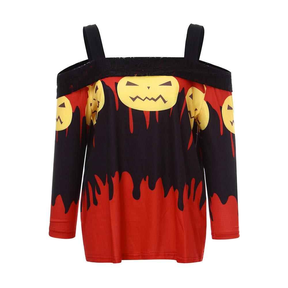 Luckycat Camiseta de Manga Larga con Estampado de Calabaza de Manga Larga para Mujer de Halloween Blusa: Amazon.es: Ropa y accesorios