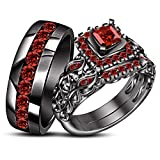 TVS-JEWELS Wedding Trio Ring Set W/ Brilliant Round Cut Gemstone Black Rhodium Plated 925 Silver (Red Garnet)