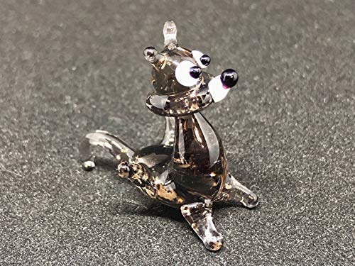 Glass Wolf Miniature Figurine 1 Inch Mini Animals