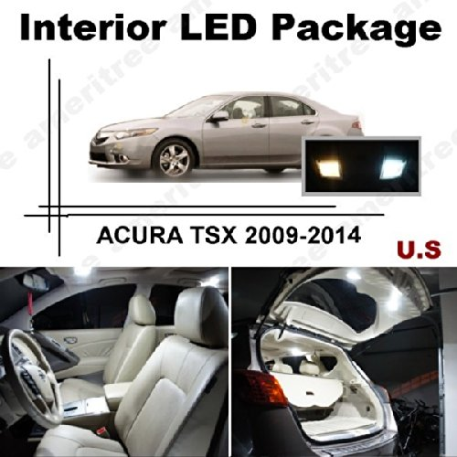 Ameritree ACURA TSX 2009-2014 (14 Pcs) Xenon White LED Lights Interior Package and White LED License Plate Kit (Tsx Warranty Acura)