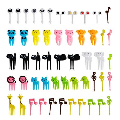 Cute Animals Food Fruit Picks Forks Bento Box Lunch Box Decorative Animals Mini Cartoon Toothpick Bento Lunch(Set of 52)