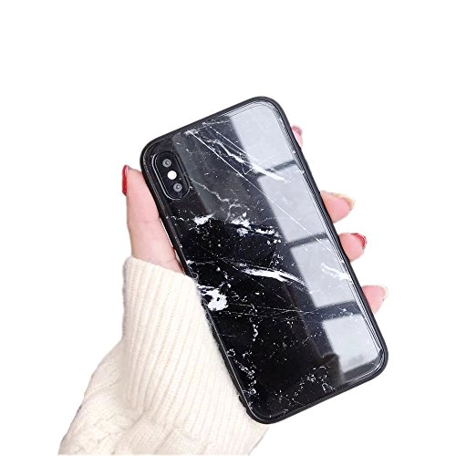 BONTOUJOUR iPhone X Case Luxury Marble Patterned Tempered Glass Back Cover with Soft TPU Bumper Frame Shock Absorption 360 Degree Full Body Strong Protection Extreme Slim Black