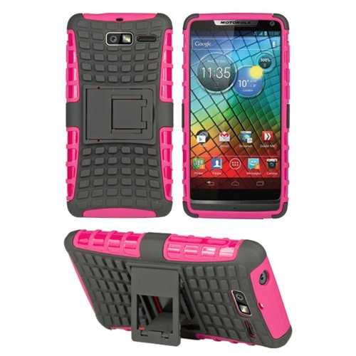 HHI Dual Armor Composite Case with Viewing Stand for Motorola Droid RAZR M - Hot Pink (Package include a HandHelditems Sketch Stylus -