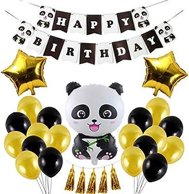 Amosfun Set de Globos de cumpleaños Panda Party Decorations ...