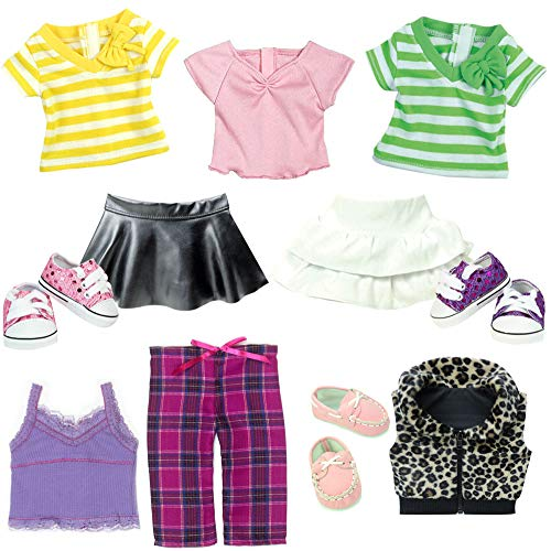 Sophia's 18 inch Doll Tee Shirts, Skirts, Pajamas, Shoes and More 11 Piece Casual Clothing and Shoes for Dolls