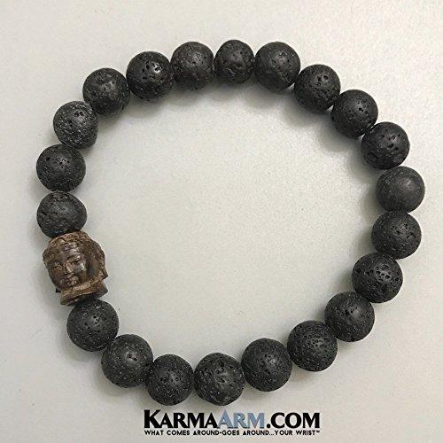 Diamonds Bracelet Moving - MOVING ON: Lava Stone | Hand Carved Driftwood Buddha Beaded Bracelets | Yoga Reiki Chakra BoHo Beaded Spiritual Meditation Jewelry