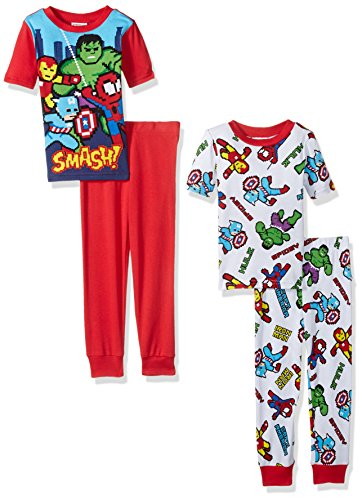 Marvel Little Boys' Superhero 4-Piece Cotton Pajama Set, Red/White, 6 (Pajamas Superhero)