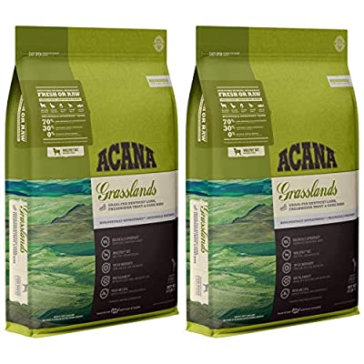 ACANA 2 Pack of Grasslands Grain-Free Dry Dog Food, 12 Pounds Each, High Protein, Made in The USA
