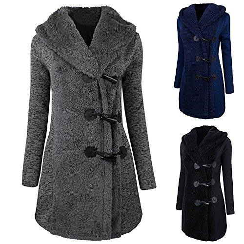 cbb6074e9 VESNIBA Women Warm Winter Plus Thick Warm Buttons Coat Overcoat Parka  Hoodie Outwear Gray