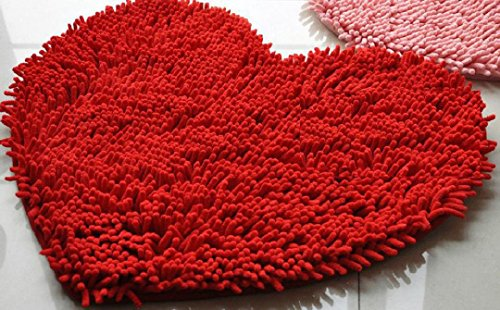 Price comparison product image Tuscom 50×60cm Soft Shaggy Non Slip Absorbent Bath Mat Bathroom Shower Rugs Carpet (Red)