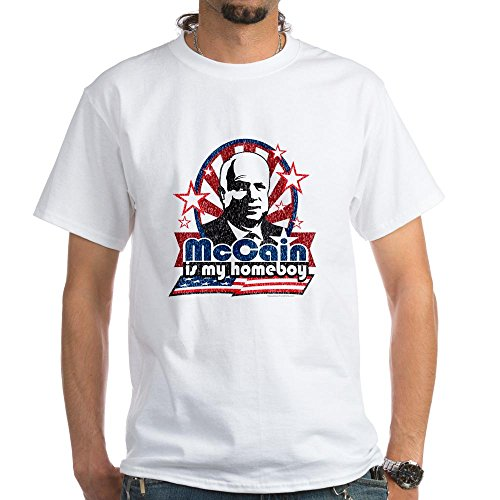 CafePress - McCain is my Homeboy White T-Shirt - 100% Cotton T-Shirt, Crew Neck, Comfortable and Soft Classic White Tee with Unique Design