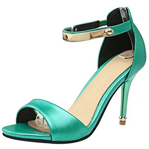 TAOFFEN Mujer Peep Toe Sandalias Moda Tacon De Aguja Tacon Alto Al Tobillo Cremallera Zapatos Verde