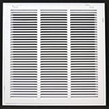 18'' X 18 Steel Return Air Filter Grille for 1'' Filter - Removable Face/Door - HVAC DUCT COVER - Flat Stamped Face - White [Outer Dimensions: 20.5''w X 20.5''h]