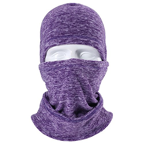 - JIUSY Multifunctional Fleece Hood Balaclava Windproof Neck Warmer Face Mask Adjustable with Drawstring for Ski Snowboard Hunting Motorcycle Cycling Cold Weather Winter Outdoor Sports Purple