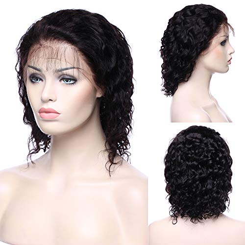 Deep Wave Curly 360 Lace Frontal Wig 100% Virgin Peruvian Human Hair Pre Plucked Lace Wig With Baby Hair for Black Women 130% Density Natural Black,8inch ()