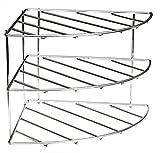 Amtido Corner Shelf Plate Rack - 3 Tier Kitchen Cabinet Organiser - Chrome