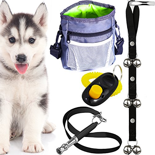 4-in-1 Puppy Training Essentials Kit - Doorbells For Potty House Train, Treat Pouch W/ Bag Dispenser, Pet Clicker W/ Strap & Bark Control Ultrasonic Whistle. Thoughtful Gift Set for New Dog Owners
