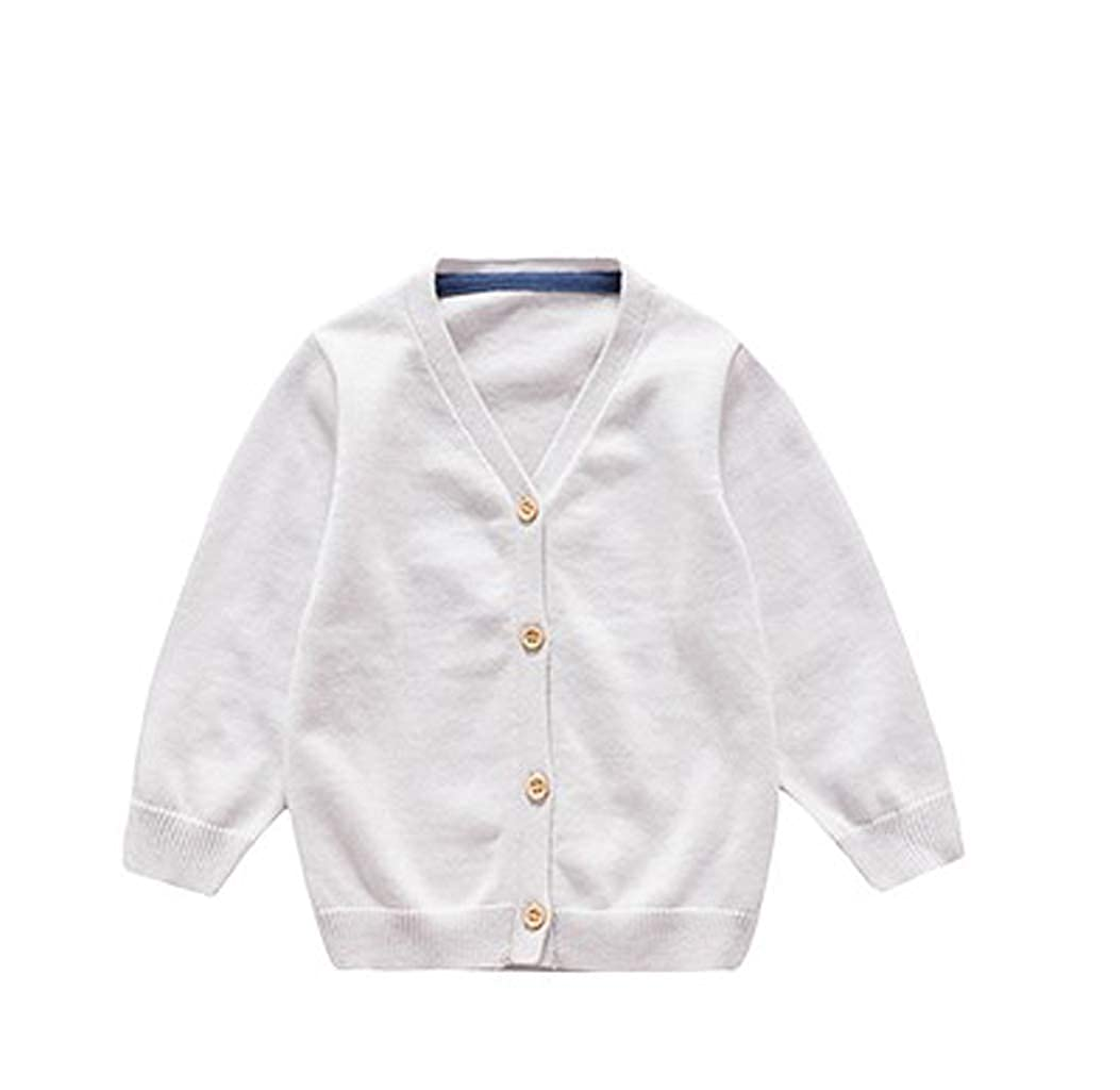 Wellwits Boys Solid V Neck Button Down Cardigan Sweater Jacket Coat