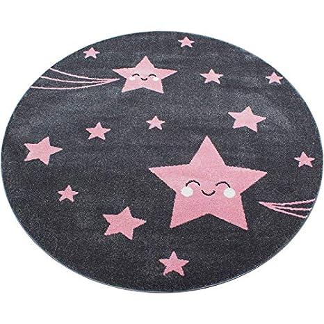 Ayyildiz Teppich Alfombra Infantil para habitaci/ón Infantil dise/ño de Estrellas Color Gris y Rosa