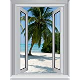 J.P.  London AMDPS7014 Ustrip Peel and Stick Removable Blue Waters Beach Large Window Wall Mural, 4-Feet By 3-Feet
