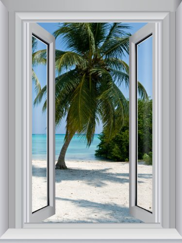 Amazon Lightning Deal 88% claimed: J.P.  London AMDPS7014 Ustrip Peel and Stick Removable Blue Waters Beach Large Window Wall Mural 4-Feet By 3-Feet