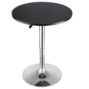 Costway Modern Round Bar Table Adjustable Bistro Pub Counter Wood Top  Swivel Indoor (1)