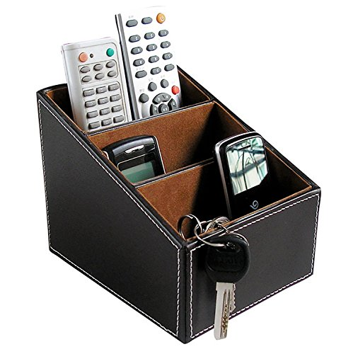 Summarytip Brown PU Leather Remote Controller Holder TV Guide CD Controller Organizer Remote Controller Caddy Stationery Organizer Stationery Caddy Stationery Holder (Middle, Brown) (Ideas Holder Dvd)