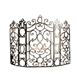 French Quarter Ornate Iron Scroll Fireplace Screen