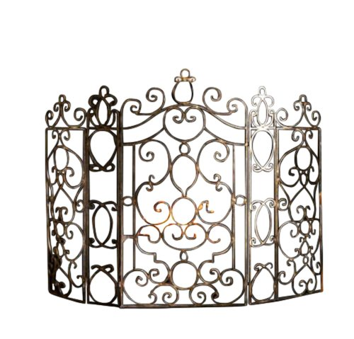 French Quarter Ornate Iron Scroll Fireplace Screen - Decorative Scroll Fireplace Screen