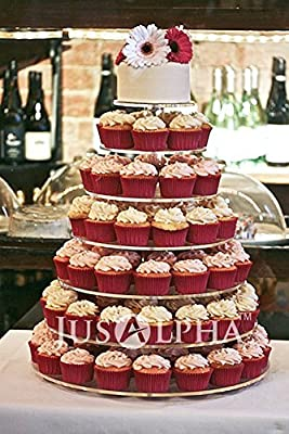 Jusalpha 7 Tier Wedding Party Acrylic Cupcake Stand