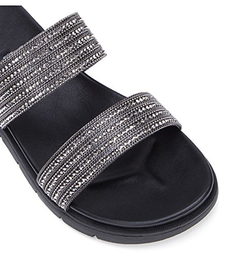 con alti alla casual estivi basso a Sandali Sandali tacco tacco Pantofole Sandali da 37 piatti donna Grigio moda basso DHG Tacchi q4PUX