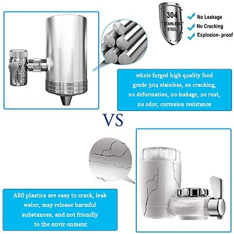 Faucet Water Filter, 304 Stainless Steel Housing Double Outlet Large Water Flow 6-Stage High Precision Filtration System Reduce Chlorine Lead Reduction Fits Most Standard Faucets 2 Filter Included