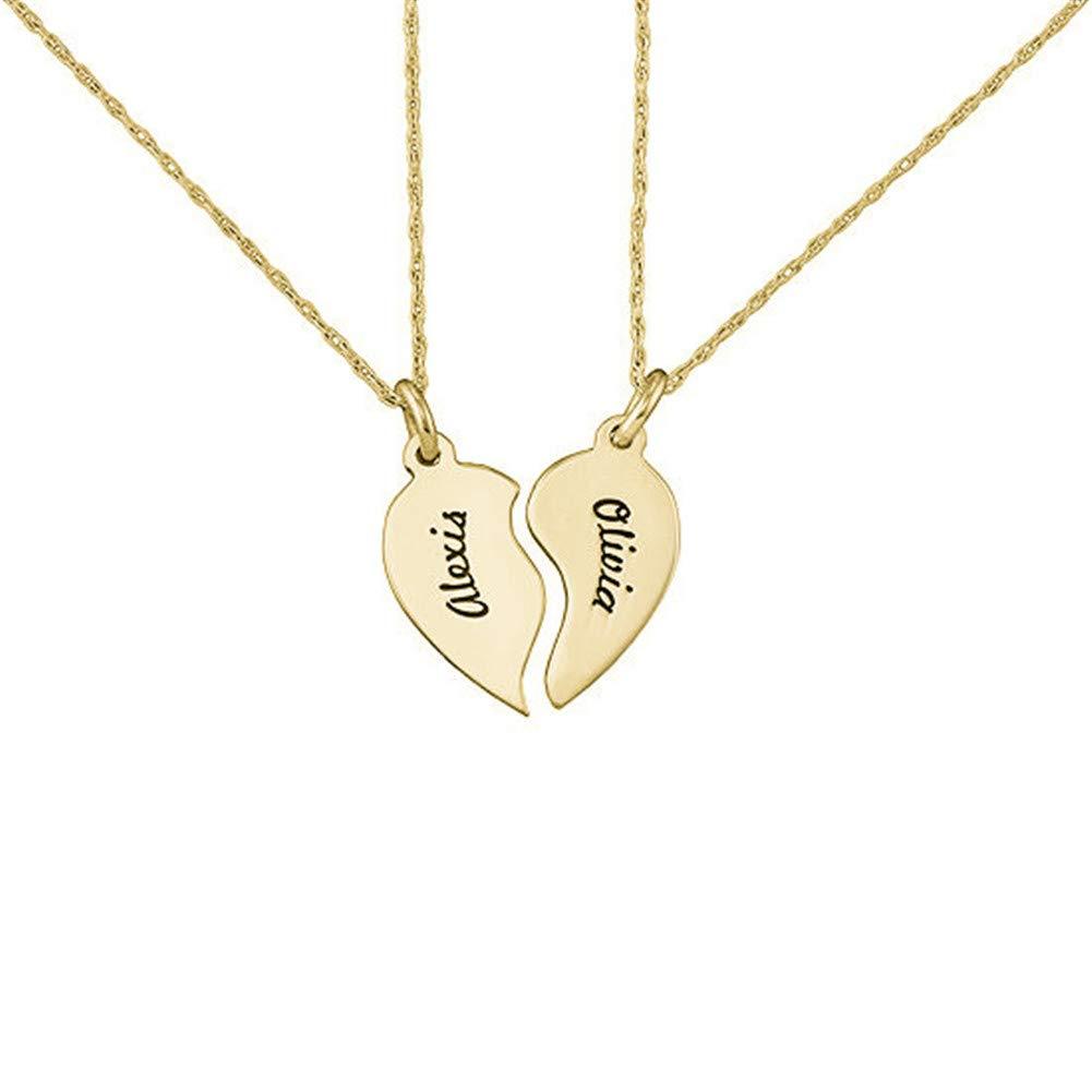 Sahaa Personalized Heartbreak Necklace Sterling Silver S925 Custom 2 Names