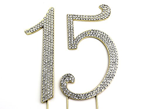 Sparkly Rhinestones Cake Topper - Gold Monogram Decoration for Wedding, Birthday & Anniversary Cakes (Numbers 15)