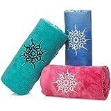 NamaSTAY Exercise Fitness Yoga Towel - Absorbent Microfiber Design for Hot Bikram Or Ashtanga Styles - Patented Non-Slip Design