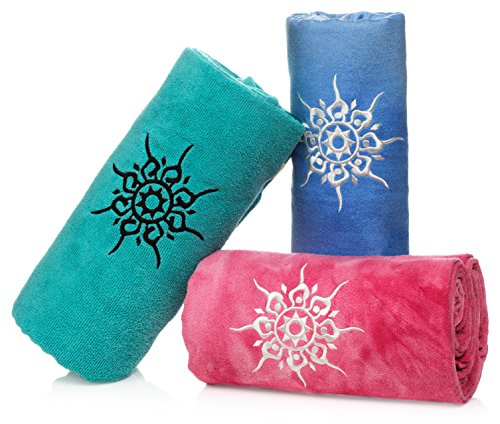 NamaSTAY Exercise Fitness Yoga Towel - Absorbent Microfiber Design That Attaches To Mats - Patented Non-Slip Design