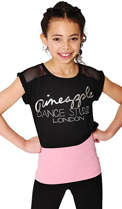 Pineapple DANCEWEAR Girls Dance Ombre Mesh Panel Leggings Black with Pink
