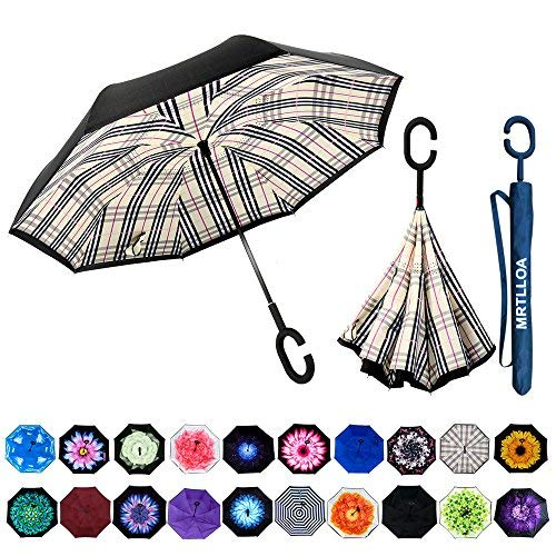 MRTLLOA Double Layer Inverted Umbrella with C-Shaped Handle, Anti-UV Waterproof Windproof Straight Umbrella for Car Rain Outdoor ()