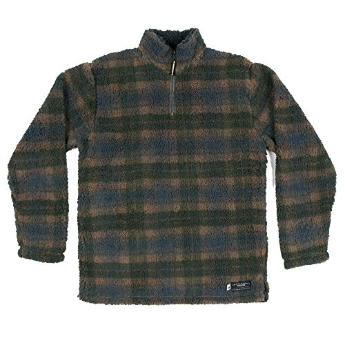 (Southern Marsh Andover Plaid Sherpa Pullover in Navy & Dark)