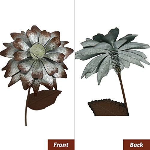 """Galvanized Floral Garden Stake Outdoor Glow in Dark Plant Pick Water Proof Metal Stick Art Ornament Decor for Lawn Yard Patio by CEDAR HOME, 4""""W x 1.5""""D x 14""""H, 3 Set"""