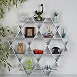 LaModaHome Cardboard Shelf 100% Corrugated Cardboard (27.6'' x 26.4'' x 4.3'') Silver Triangle Hexagon Decorative Living Room Design Storage Shelf Multi Purpose